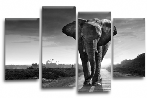 Sunset African Elephant Black Grey Canvas Wall Art Picture Print